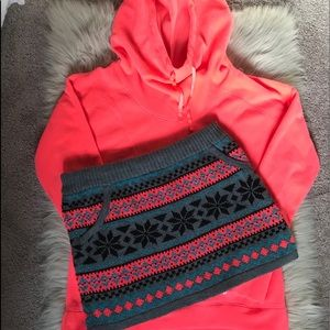Neon pink hoodie and sweater skirt set.